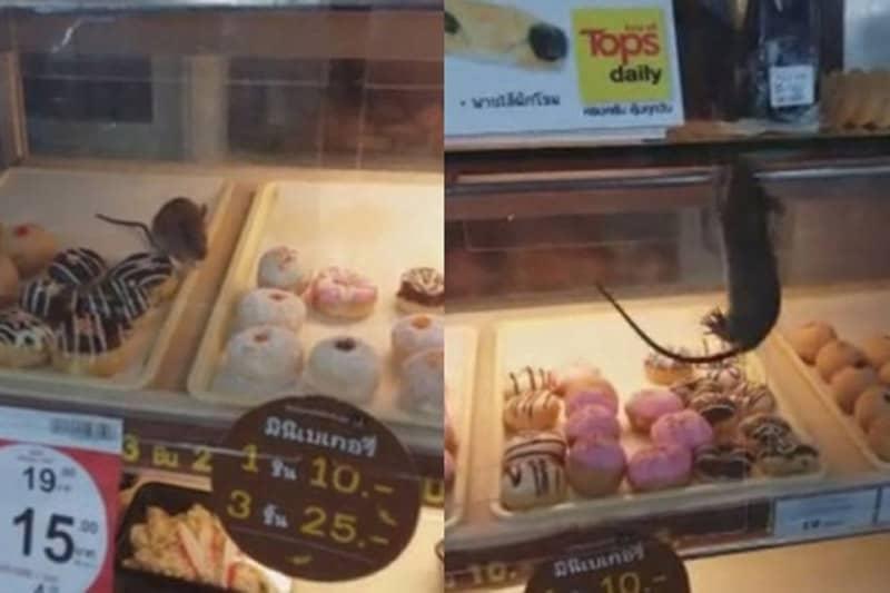 スクンビットの有名スーパーで、ネズミが商品のドーナツを食べる映像