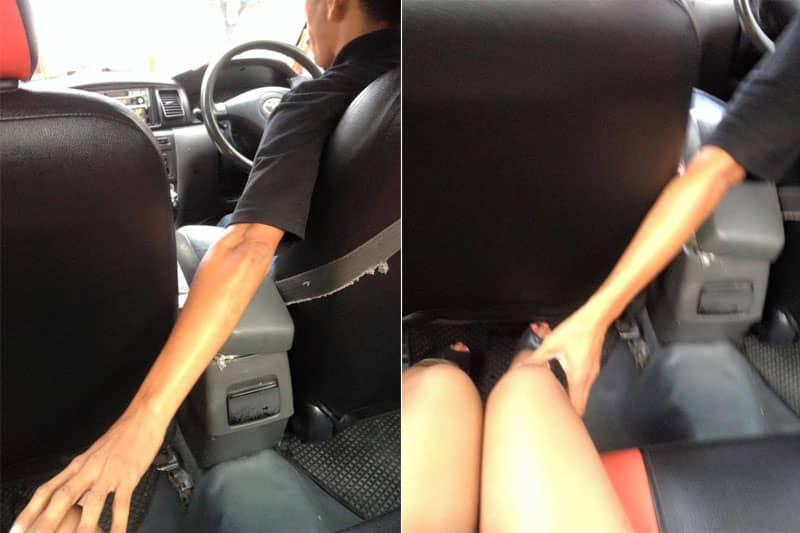 オンヌットでタクシー運転手からセクハラ被害に遭った美脚女性が逆襲