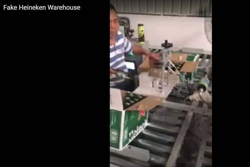タイ国内某所にある?偽ハイネケンを出荷する倉庫を撮影した衝撃映像