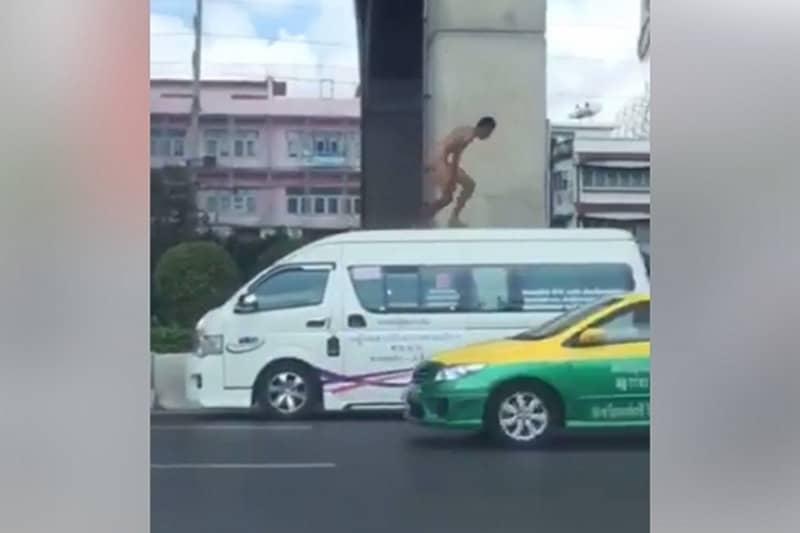 バンコクの路上に全裸マンが登場、抜群の身体能力を披露するも確保される