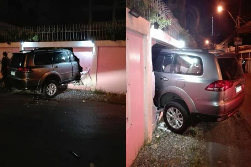 【更新】飲酒運転の日本人の車、スクンビットで塀に突っ込み日本人3人負傷