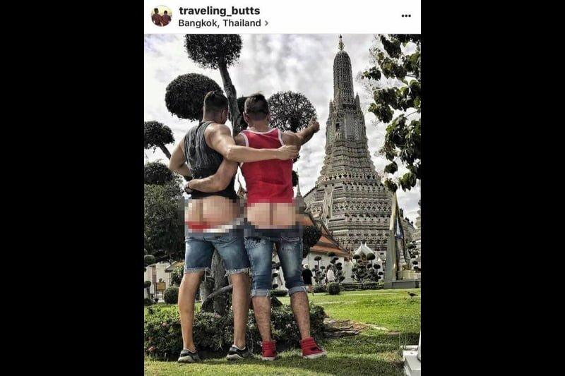 ホモのバカップル、寺院で尻丸出し写真を撮りタイ人の怒りを買う