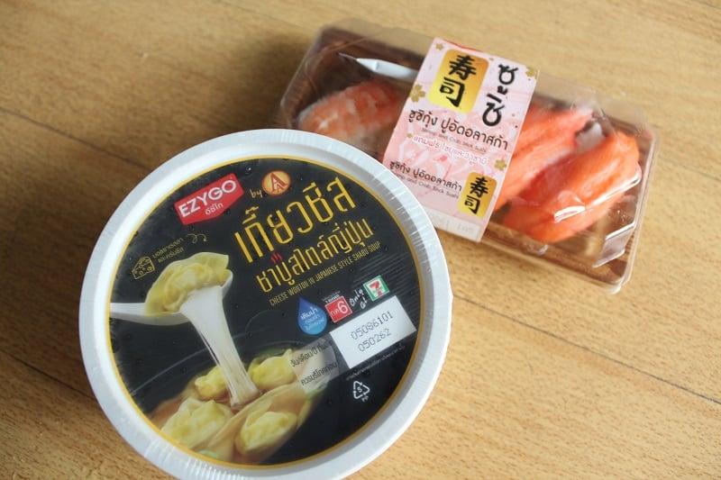 タイの「7-11」で寿司が発売中!そして謎の新製品「チーズ入り中国ワンタンIN日本風シャブシャブスープ」の味は?