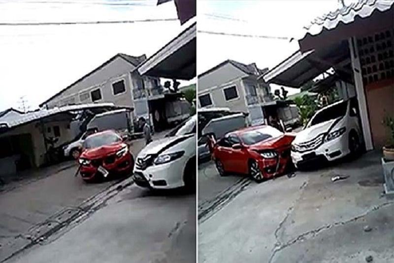 バンコクで夫婦喧嘩の末、お互いの車を壊し合いの騒動!